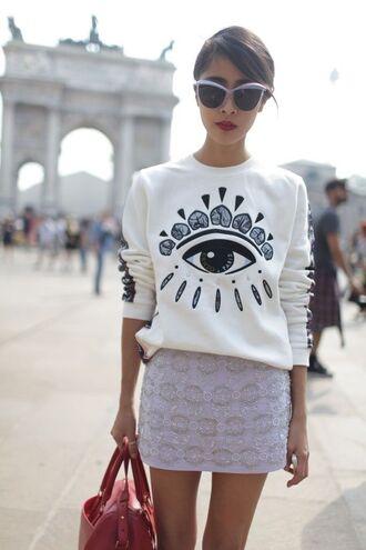 sweater white eye jewel
