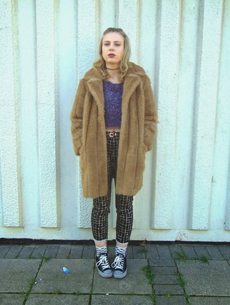 the velvet black grunge blogger cropped pants faux fur coat fluffy coat top pants shoes belt