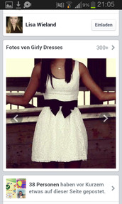 dress,hollister,white lace dress,white lace,white dress with black bow