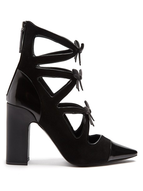 Fabrizio Viti heel suede ankle boots bow ankle boots suede black shoes