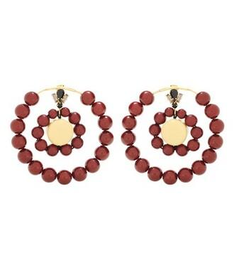beaded earrings hoop earrings red jewels