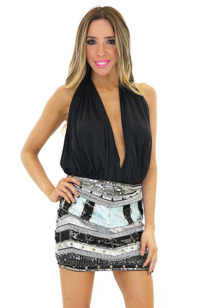 KARLA SEQUIN MINI SKIRT - Black | Haute & Rebellious