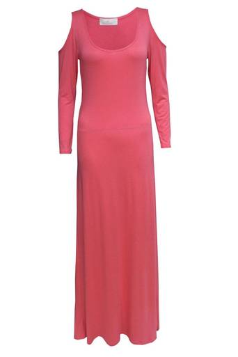 Ladies Vasteen Open Shoulder Maxi Dress in Coral | Pop Couture