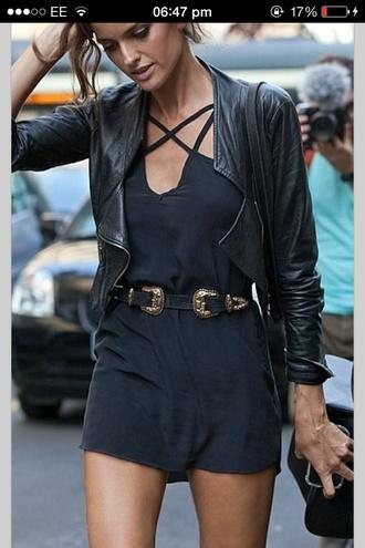 dress black straps belt leather jacket jacket