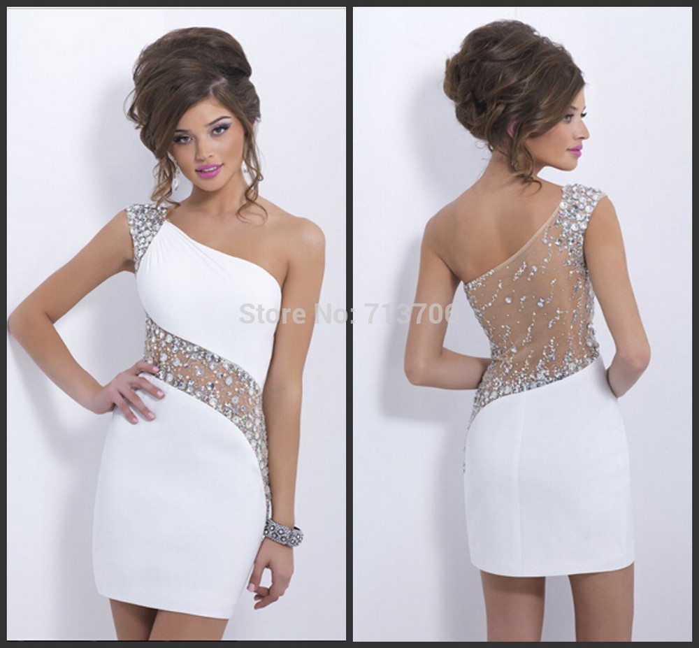 prom dresses 2014 new tight fashion crystal white sexy prom dress ...