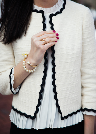 jewels tumblr ring bracelets gold ring gold bracelet cuff bracelet pearl white jacket jacket top pleated white top blouse white blouse nail polish nails pink nails