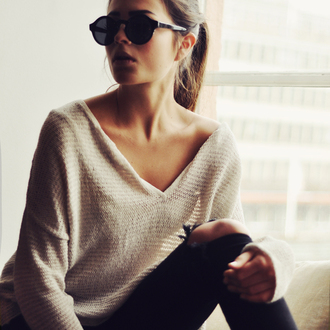 sunglasses sweater oversized sweater cream v neck knitwear knitted sweater sexy sweater beige tan long sleeves off the shoulder sweater casual ponytail white sweater