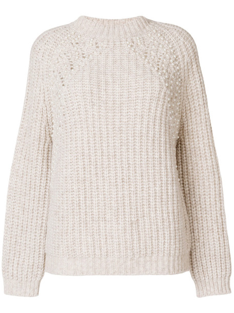 Ermanno Ermanno jumper women pearl embellished nude wool sweater