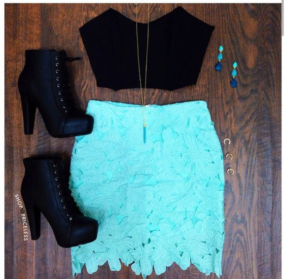 coachella shoes cute outfits skirt turquoise lace skirt party necklace high heels crop tops pencil skirt top