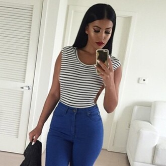 tank top side boob spring spring outfits make-up jeans leotard top amrezy striped top pants leggings shirt