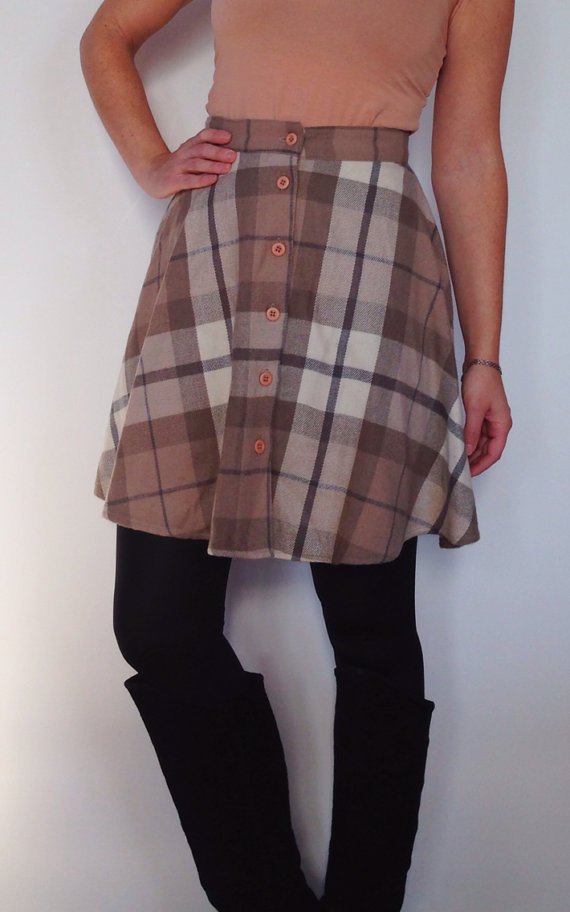 Vintage Soft Tan & Gray Plaid Buttondown Skater by itsjuliemiller