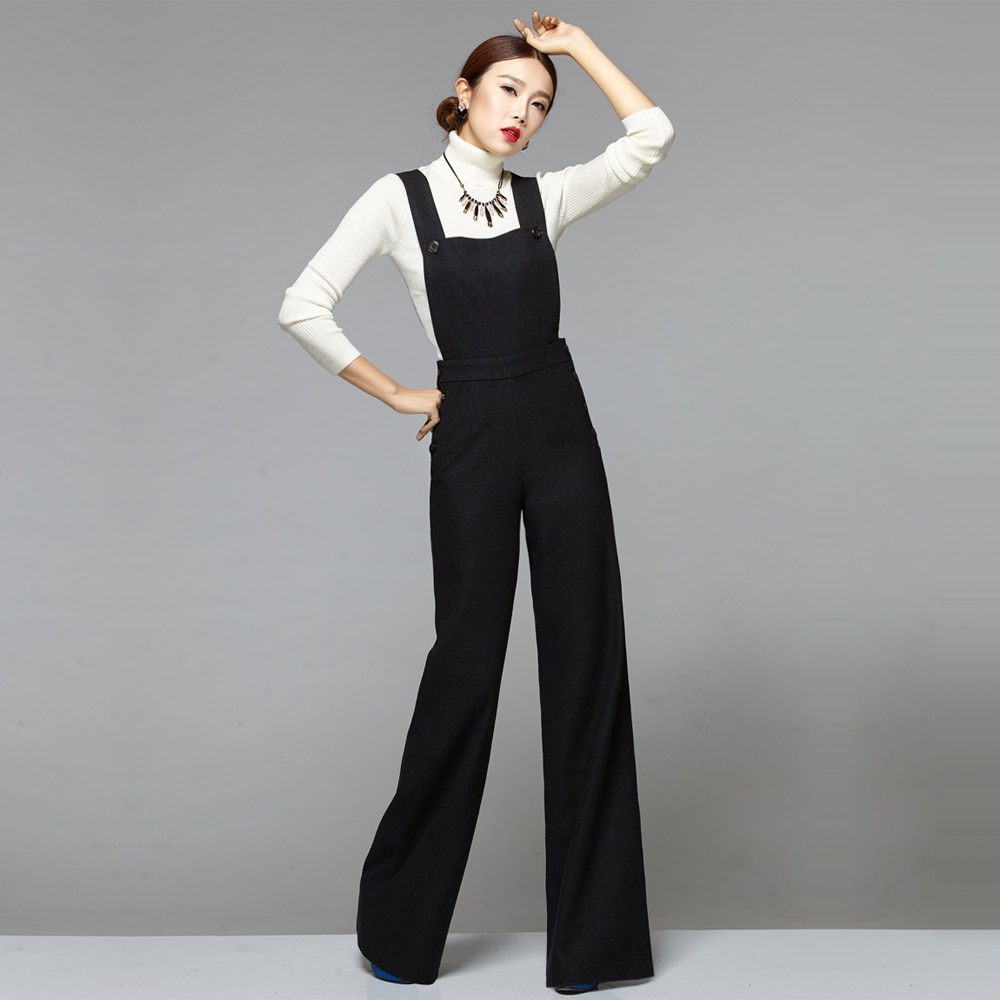 US $93.99 6% OFF Fashion Winter Warm Overalls Jumpsuit Womens Elegant Wool Rompers Chic Elegant Office Lady Black Wide Leg Pants Woolen Rompers-in Jumpsuits from Women's Clothing on Aliexpress.com   Alibaba Group
