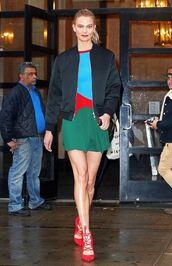 dress,pumps,karlie kloss,model off-duty,mini dress,jacket,spring dress,spring outfits