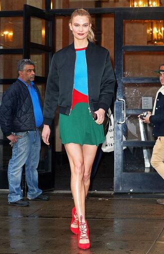 dress pumps karlie kloss model off-duty mini dress jacket spring dress spring outfits