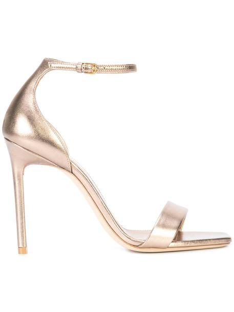Saint Laurent women sandals leather grey metallic shoes