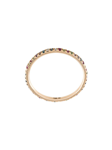 Ileana Makri rainbow rose gold rose women ring gold grey metallic jewels