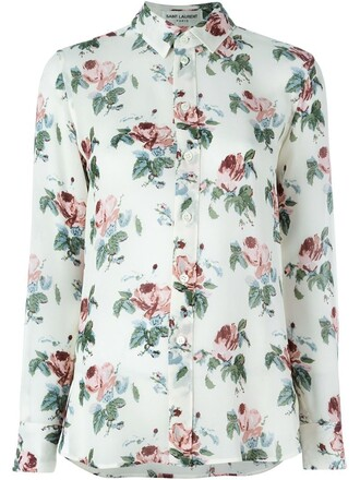 blouse floral print nude top