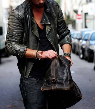 jacket biker jacket leather jacket cuir menswear mens jacket leather bag vintage mens holdall