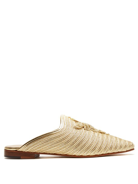 carrie forbes backless loafers gold shoes