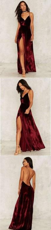 dress,spaghetti strap,red dress,red prom dress,velvet,red velvet dress,prom dress,burgundy,burgundy dress,long dress,slit dress,sleeveless,maxi dress,prom,burgundy velvet maxi dress,v neck