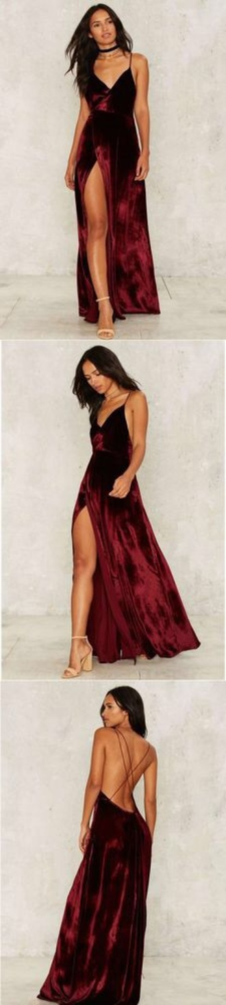 dress spaghetti strap red dress red prom dress velvet red velvet dress prom dress burgundy burgundy dress long dress slit dress sleeveless maxi dress prom burgundy velvet maxi dress v neck