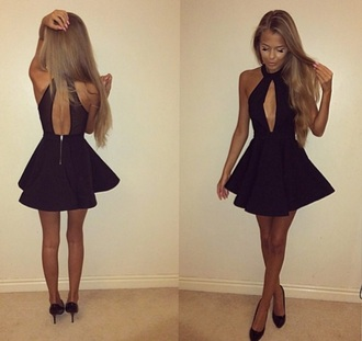 dress black dress short dress low cut dress backless zip skirt dressy black cute halter neck open front