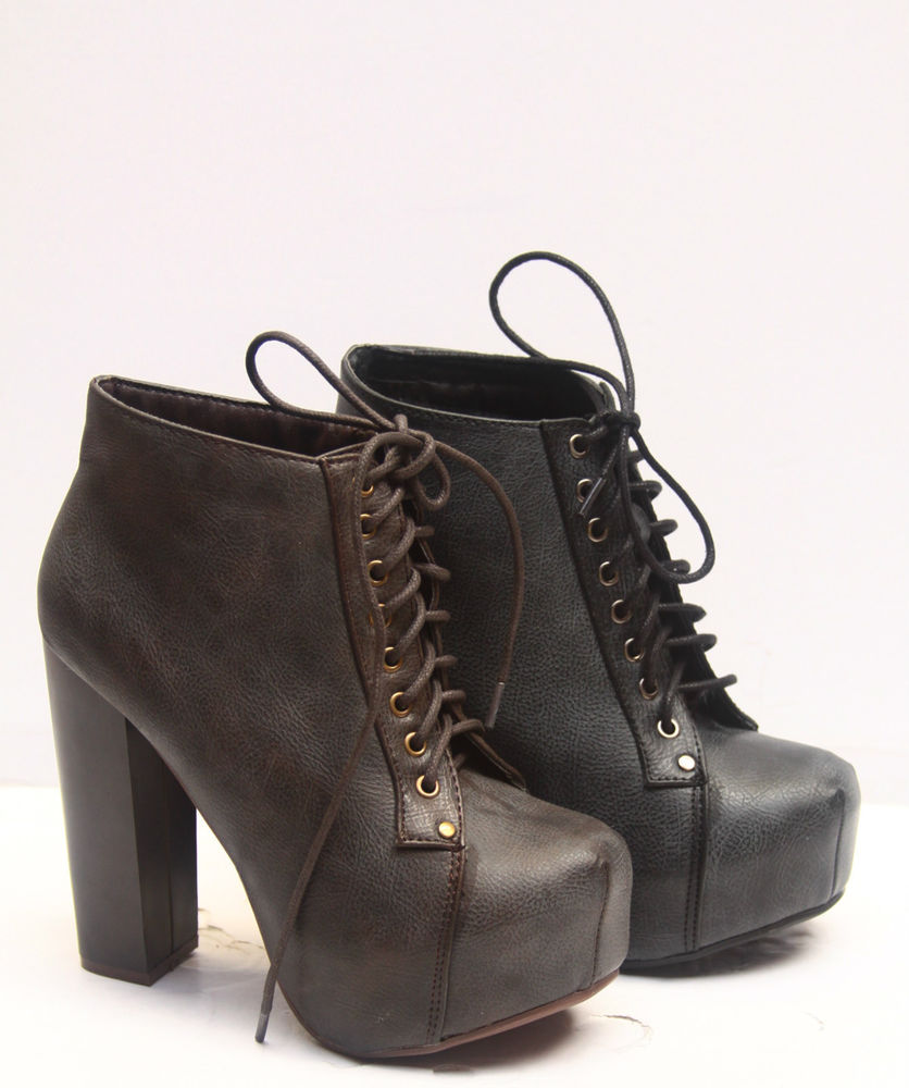 Fashion Chunky Heel Black Brwon Lace Up Platform Bootie Women's Shoes 5 5 10 New | eBay