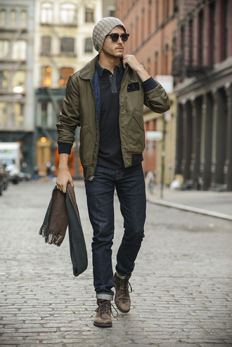 menswear blogger khaki sunglasses jacket jeans beanie i am galla scarf bomber jacket mens accessories mens shoes