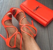 shoes,orange shoes,orange,summer shoes,heels,orangeheels,ysl,high heels,bag,orange heels