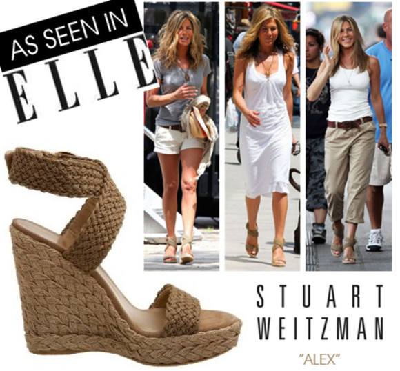 shoes nude shoes wedges stuart weitzman elle beige nude wedge nude wedges celebrity style celebrity celebrity style steal summer shoes spring shoes platform shoes jennifer aniston