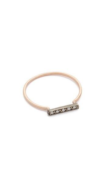 Blanca Monros Gomez Dainty Stacking Diamond Ring - Rose Gold/Silver