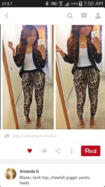 pants cheetah jogger pants