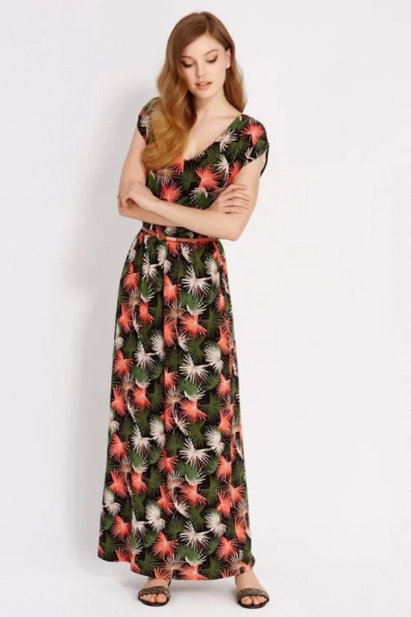 kcloth maxi dress leaves printed dress