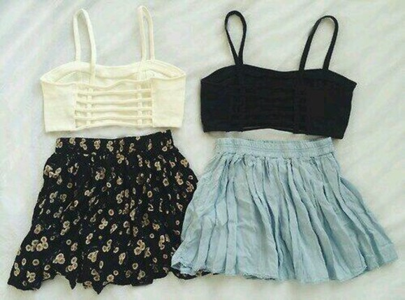 skirt black ivory forever 21 crop tops bralette skater skirt brandy melville tumblr floral daisy pattern baby blue pastel black a r cage caged bralette tropical selena gomez white tank top top blue skirt black bralette white bralette floral skirt short skirt blouse