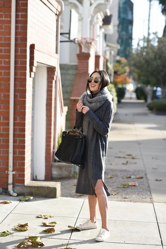 dress tumblr midi dress grey dress sweater dress knit knitwear knitted dress sneakers bag black bag sunglasses scarf monochrome monochrome outfit