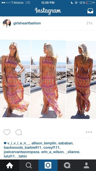 dress crop tops bikini colorful tribal pattern fashion style maxi dress maxi skirt beautiful
