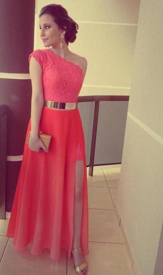 dress coral dress coral pretty dress pretty beautiful dress shoes pink pink dress gold half long perfect skirt pink skirt long skirt slit dress formal evening dress red prom dresses red long prom dress lace dress metal gold waist belt maxi dress gold belt