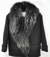 coat,black,fur collar