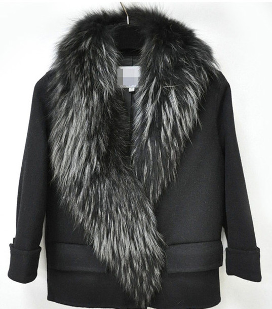 coat black fur collar