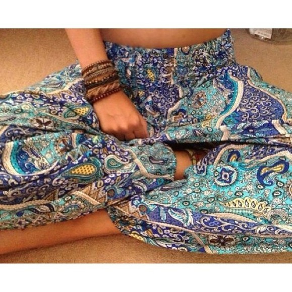 pants blue pants light blue dark blue paisley paisley print tropical summer
