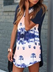 t-shirt,palms,dress,short sleeve,pretty,print,blue dress,pretty little liars,printed dress,summer