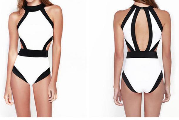 swimwear white bikini sexy monokini bandage swimwear pajamas cut-out