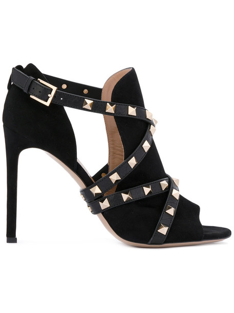 Valentino women sandals leather suede black shoes