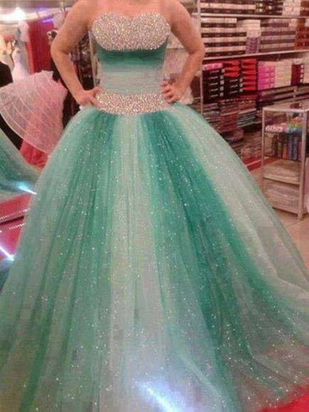 dress tulle green dress beautiful sparkles