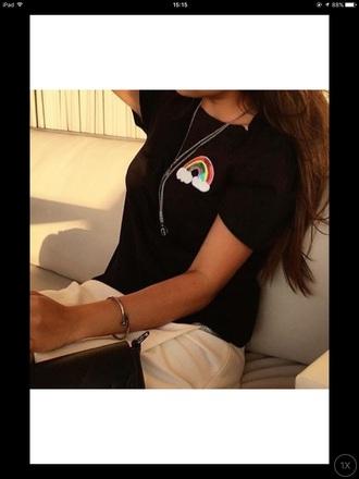 blouse black t-shirt rainbow