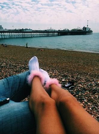 socks pink socks fluffy fluff