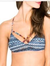 swimwear,bralette,bikini,bikini top,tribal pattern,criss cross