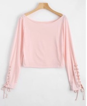 blouse,girly,pink,crop tops,crop,cropped,long sleeves,lace,lace up