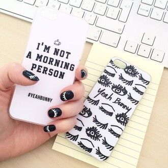 phone cover yeah bunny nails black nails iphone iphone case i'm not a morning person