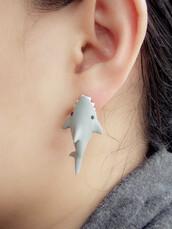 jewels,earings,shark,shark earings,cute,kawaii,ear,grey,black,white,shark earring,fish,cool,earrings,sea creatures,kawaii earring